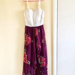 High-Low Floral Juniors Maxi Dress